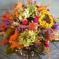 Vivid Autumn dried flower centerpiece made by NHWoodscreations