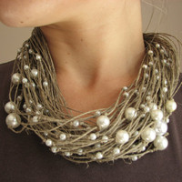 $32.00 scattered  pearls  Big  linen necklace by GreyHeartOfStone on Etsy