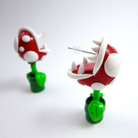 Piranha Plant earrings inspired from Mario Brothers by TrenoNights