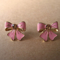 Pink Bow Earrings Studs with Pink Bling by Bitsofbling on Etsy