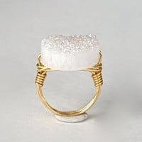 Druzy Ring Mystic White Crystal Snowy Quartz Round AB Coin Gold Wire Wrapped Size 9