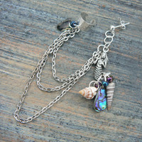 mermaid abalone silver ear cuff  with chains mermaid siren abalone shells in boho gypsy hippie hipster  beach  resort and fantasy style