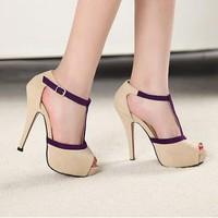 Vogue Sexy Women Shoes Stiletto Pumps Platform Peep Toe Buckle High Heels Sandal