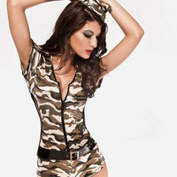 Army Brat ROMPER Clubwear Stripper Teddy Exotic Dancer Camo Sexy Lingerie USA