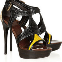 Burberry Prorsum | Raffia and patent-leather sandals | NET-A-PORTER.COM