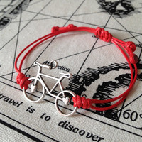 Red .Hot pink .Navy blue . Purple Cord with Silver  Retro Bicycle charm wish bracelet