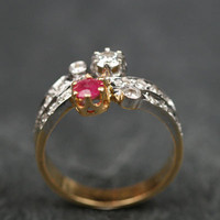 Ruby & Diamond 'toi et moi' Ring Yellow Gold w/ Platinum Setting by Ruby Gray's | Ruby Gray's Antique & Vintage Rings
