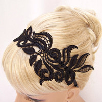 Delphinium black lace headband