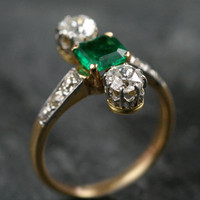 Vintage Emerald & Diamond Engagement Ring by Ruby Gray's | Ruby Gray's Antique & Vintage Rings
