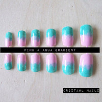 Pink & Aqua Gradient Nail Art Set by CriztawlNailz on Etsy
