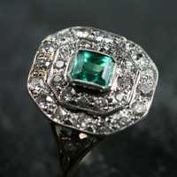 Edwardian White Gold Platinum set Emerald & Diamond Ring by Ruby Gray's | Ruby Gray's Antique & Vintage Rings