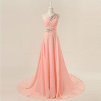 One-shoulder floor-length chiffon beading appliques long prom dress from dressesforsale