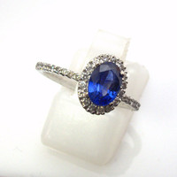 Diamond ring natural Ceylon royal blue sapphire about 1 carat, Payment Plan is available.  P-044-1