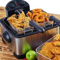 Amazon.com: Secura 4.2L/17-Cup 1700-Watt Stainless-Steel Triple-Basket Electric Deep Fryer, with Timer: Kitchen & Dining