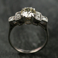 Art Deco Platinum Solitaire Diamond Engagement Ring by Ruby Gray&#x27;s | Ruby Gray&#x27;s Antique &amp; Vintage Rings