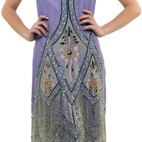 Dusty Purple Embroidered Reproduction 1920&#x27;s Flapper Dress - S to 2XL - Unique Vintage - Prom dresses, retro dresses, retro swimsuits.