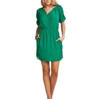 Rue La La - Shoshanna Green Elbow Sleeve Dress