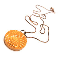 "Mustard Yellow Necklace Pendant, Carved Leaf, Feather Design, Vintage Button Pendant Necklace, Upcycled Jewelry - ""Cabana Sunshine"""