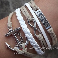 Infinity wish LOVE, Lovers Bracelet--silver 8 infinity wish, LOVE and anchor,Cream-colored and white wax rope,white Leather braided bracelet