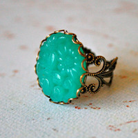 Vintage Jade Carved Glass Ring adjustable made in by orangejuniper