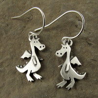 Dragon earrings by StickManJewelry on Etsy