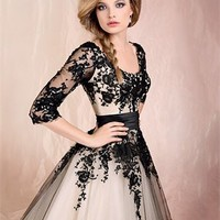 Ball Gown Scoop Neckline with Long Sleeves Lace Knee Length Prom Dress
