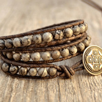 Chan Luu inspired bracelet. Grey beaded leather wrap bracelet.