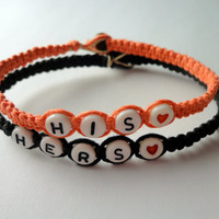 His Hers Couples Bracelet Set, Coral and Black Hemp Bracelets
