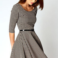Zoe 3/4 Sleeve Dogtooth Belted Skater Dress