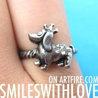 SALE - Puppy Dog Animal Ring in Silver with Crown Sizes 5, 6, and 6.5