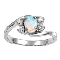 Sterling Silver Oval White Lab Opal Ring (Size 5 - 9): Jewelry: Amazon.com