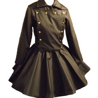 Gothic Jacket Skirt Goth Cosplay Lolita Black Vinyl by MGDclothing