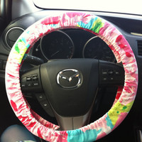 Steering Wheel Cover made with Lilly Pulitzer fabric by wamozart12