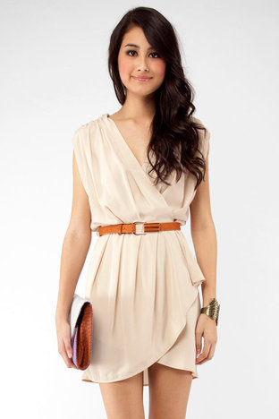 New Colors on the Block Belted Dress in Taupe :: tobi