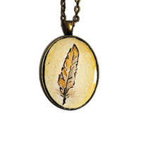 Feather Original Watercolor Painting Art Pedant Necklace