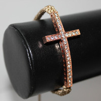 Instafashion  Tan Pink Cross Bracelet