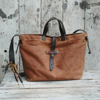 Waxed Canvas Tote: Spice, antique military leather, antique fabric pocket.