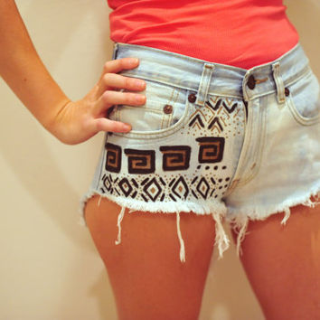 Custom tribal gold and black high waisted denim by JessieJeans