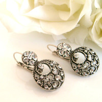 Art deco crystal rhinestone vintage style leverback earrings wedding jewelry bridal jewelry bridesmaid gifts birthday gifts