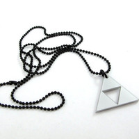 Legend of Zelda Triforce Small Necklace Silver acrylic by milkool