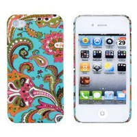 Vintage Floral Embossed Hard Case for Apple iPhone 4, 4S (AT&T, Verizon, Sprint) - Includes DandyCase Keychain Screen Cleaner [Retail Packaging by DandyCase]