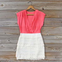 Tucked Lace Dress in Watermelon, Sweet Women's Country Clothing