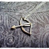 Tiny Bow and Arrow Charm Necklace in by EvelynMaeCreations on Etsy