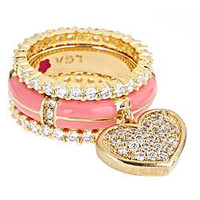 Max &amp; Chloe - Lauren G. Adams Pink Pave Heart Stackable Ring Set - Max and Chloe