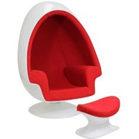 Amazon.com: LexMod Eero Aarnio Alpha Shell Egg Chair And Ottoman in Red: Home & Kitchen