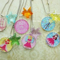 Princess Starfishes Party Favors Silver Necklaces Birthday Girls