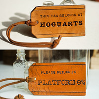 1 each of This bag belongs at Hogwarts leather tag by MesaDreams