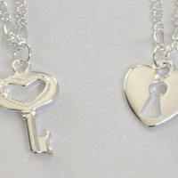 Heart Shaped Key and Lock Friendship Anklet Set for Sisters or Friends