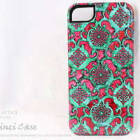 Artistic iPhone 5 Tough Case - Aqua Pink Lattice - Unique Pink and Green Victorian Lace iPhone 5 TOUGH Cover - Dual Layer Protection Case