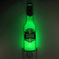 "Stella Artois12oz Night Light / Accent Lamp- VIDEO DEMO-  Eco LED...""Diamond Like"" Glass Crystal Coating on interior"